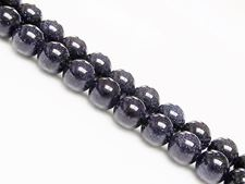 Picture of 8x8 mm, round, gemstone beads, goldstone, midnight blue