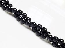 Picture of 6x6 mm, round, gemstone beads, tourmaline, black, natural