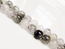 Picture of 8x8 mm, round, gemstone beads, quartz, warm silver grey, natural