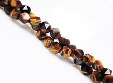 Picture of 5x6 mm, round English cut, gemstone beads, tiger eye, natural, faceted