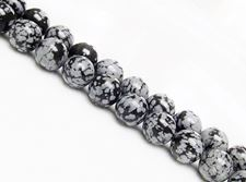 Picture of 10x10 mm, round, gemstone beads, obsidian, snowflake, natural