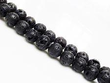 Afbeelding van 8x8 mm, rond, edelsteen kralen, lavasteen, zwart gekleurd, gewaxt