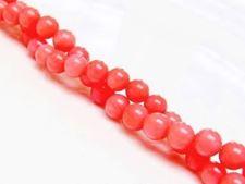 Image de 6x6 mm, perles rondes, pierres gemmes organiques, corail, rose