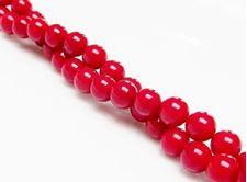 Image de 6x6 mm, perles rondes, pierres gemmes organiques, corail, rouge