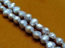 Image de 7-8 mm, pépites médium, pierres gemmes organiques, perles d'eau douce, naturelles, gris argenté