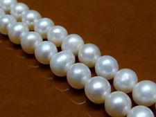 Picture of 6-7 mm, potato, organic gemstone beads, freshwater pearls, white