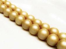 Image de 10x10 mm, perles rondes, pierres gemmes, perles de nacre de la mer de Chine du Sud, beige doré, dépoli