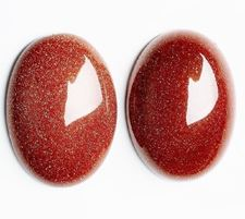 Picture of 13x18 mm, oval, gemstone cabochons, goldstone, red