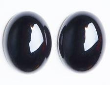 Image de 13x18 mm, ovale, cabochons de pierres gemmes, onyx, noir