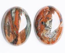 Image de 13x18 mm, ovale, cabochons de pierres gemmes, jaspe pavot, natural