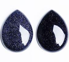 Image de 18x25 mm, goutte, cabochons de pierres gemmes, rivière d'or, bleu nuit
