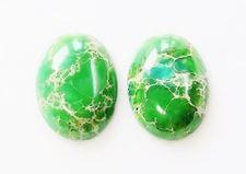 Image de 18x25 mm, ovale, cabochons de pierre gemme, jaspe impression, vert iguane profond