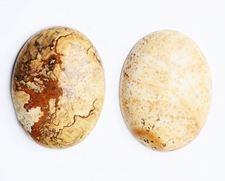 Image de 18x25 mm, ovale, cabochons de pierres gemmes, jaspe scénique, naturel