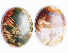 Image de 18x25 mm, ovale, cabochons de pierres gemmes, jaspe ruisseau rouge, naturel
