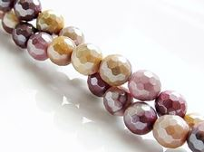 Image de 6x6 mm, perles rondes, pierres gemmes, Mookaïte Windalia Radiolarite, naturelle, en facettes, lustre métallique