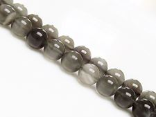 Picture of 8x8 mm, round, gemstone beads, moonstone, deep grey, natural, AA-grade