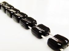 Picture of 6x6 mm, square, Silky beads, Czech glass, 2 holes, black, opaque, glossy