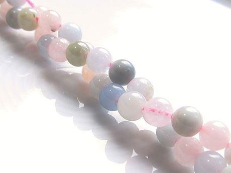 Afbeelding van 6x6 mm, rond, edelsteen kralen, morganiet of roze beril, natuurlijk