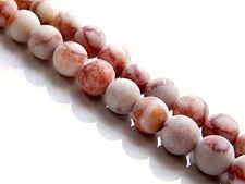 Afbeelding van 8x8 mm, rond, edelsteen kralen, rode geaderde jaspis, natuurlijk, mat