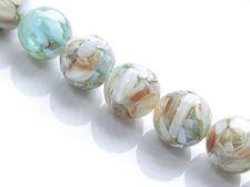 Image de 14x14 mm, perles rondes, pierres gemmes,  coquillage naturel en résine, turquoise vert aqua
