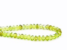 Picture of 3x5 mm, Czech faceted rondelle beads, light olive green, transparent