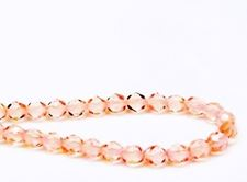 Picture of 6x6 mm, Czech faceted round beads, light rose, transparent