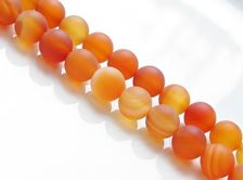 Picture of 8x8 mm, round, gemstone beads, carnelian, natural, frosted