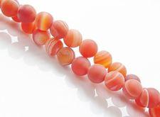 Afbeelding van 6x6 mm, rond, edelsteen kralen, natuurlijke gestreepte agaat, oranjerood, mat