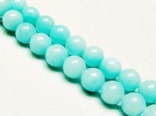 Picture of 10x10 mm, round, gemstone beads, jade, light turquoise green, A-grade