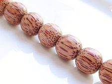 Picture of  15x15 mm, round, organic beads, palm wood, light brown, natural