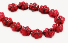 Picture of 8 mm, carved, flat round Czech beads, flower, deep red, opaque, travertine, 12 pieces