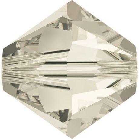 Image de 4 mm, perles bicônes de cristal Swarovski®, cristal nuance argent