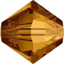 Afbeelding van 4 mm, Xilion bicone Swarovski® kristal kralen, koper kristal