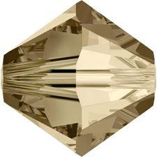 Afbeelding van 4 mm, Xilion bicone Swarovski® kristal kralen, kristal gouden schaduw