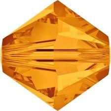 Afbeelding van 4 mm, Xilion bicone Swarovski® kristal kralen, topaas geel
