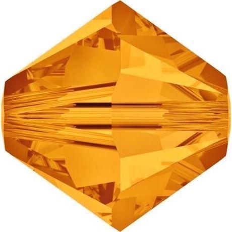 Image de 4 mm, perles rondes de cristal Swarovski®, jaune topaze
