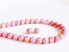 Afbeelding van 6x6 mm, rond, Tsjechische geperste glaskralen, krijtwit, ondoorzichtig, licht topaas roze glans