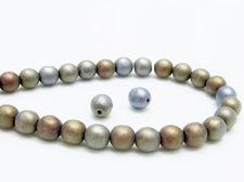 Image de 6x6 mm, rondes, perles de verre pressé tchèque, noires, opaques, iris brun bleu, mat