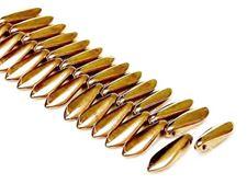 Picture of 5x16 mm, Czech druk beads, daggers, black, opaque, golden luster