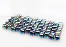 Picture of DB086 Delica beads, size 11/0, crystal, steel blue-lined, AB