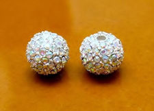 Picture of 10x10 mm, round, alloy beads, silver-plated, AB coated pavé crystals, 2 pieces