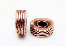 Picture of 12x6 mm, large hole rondelle, pewter beads, JBB findings, waved, copper-plated