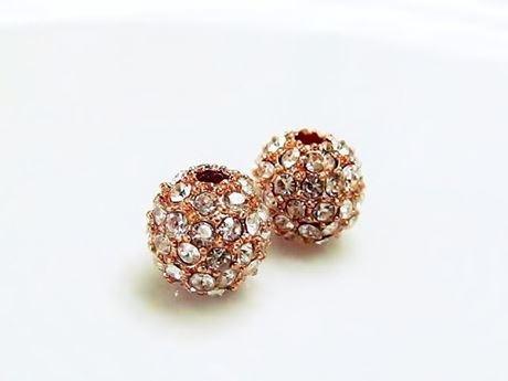 Afbeelding van 8x8 mm, rond, kralen in legering, roze goud verguld, heldere pavé kristallen, 2 stuks