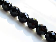 Picture of 12x12 mm, Czech faceted round beads, jet black, opaque, pre-strung