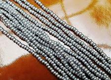 Afbeelding van Tsjechische rocailles, maat 11/0, voor-geregen, glanzend zilver, ondoorzichtig