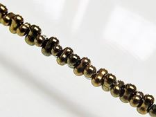 Picture of 2x4 mm, Japanese peanut-shaped seed beads, opaque, bronze, metallic