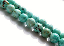Picture of 8x8 mm, round, gemstone beads, Peruvian turquoise, natural