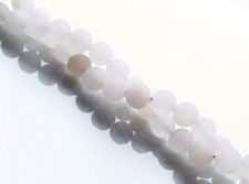Picture of 6x6 mm, round, gemstone beads, light grey sponge quartz, natural, frosted