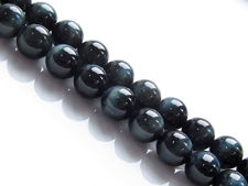 Picture of 8x8 mm, round, gemstone beads, tiger eye, deep blue