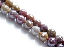 Image de 8x8 mm, perles rondes, pierres gemmes, Mookaïte Windalia Radiolarite, naturelle, en petites facettes, lustre métallique
